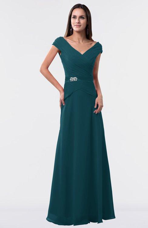 ColsBM Madelyn Blue Green Informal A-line Portrait Zipper Floor Length Ruching Plus Size Bridesmaid Dresses