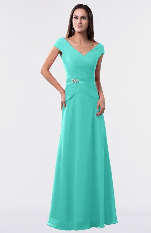ColsBM Madelyn Blue Turquoise Informal A-line Portrait Zipper Floor Length Ruching Plus Size Bridesmaid Dresses