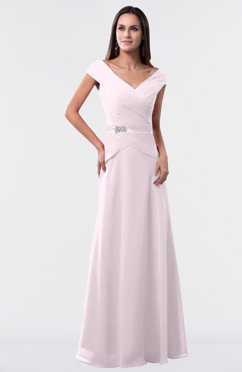 ColsBM Madelyn Blush Informal A-line Portrait Zipper Floor Length Ruching Plus Size Bridesmaid Dresses