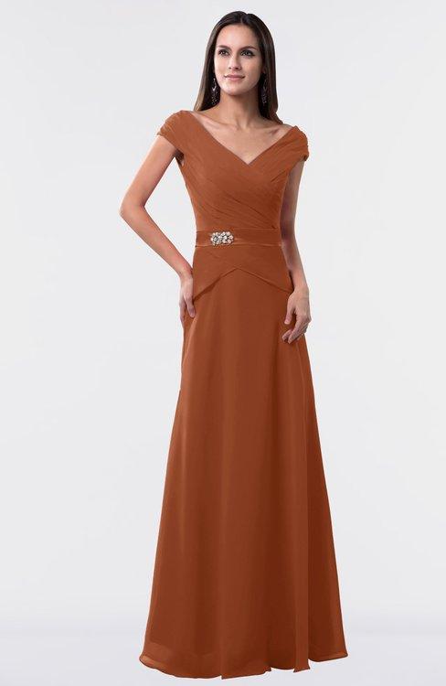 ColsBM Madelyn Bombay Brown Informal A-line Portrait Zipper Floor Length Ruching Plus Size Bridesmaid Dresses