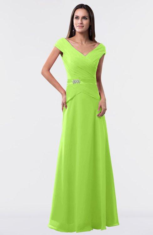 ColsBM Madelyn Bright Green Informal A-line Portrait Zipper Floor Length Ruching Plus Size Bridesmaid Dresses