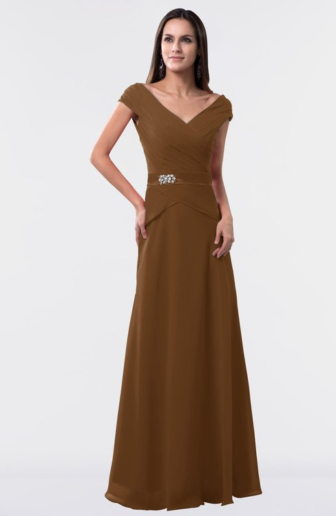ColsBM Madelyn Brown Informal A-line Portrait Zipper Floor Length Ruching Plus Size Bridesmaid Dresses