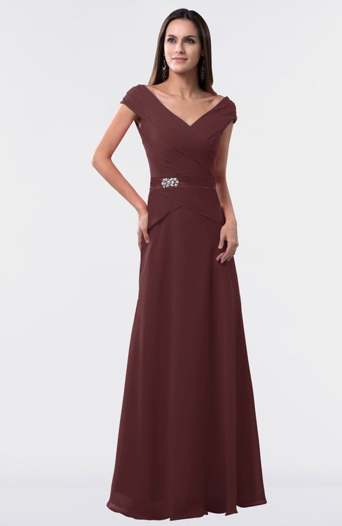 ColsBM Madelyn Burgundy Informal A-line Portrait Zipper Floor Length Ruching Plus Size Bridesmaid Dresses