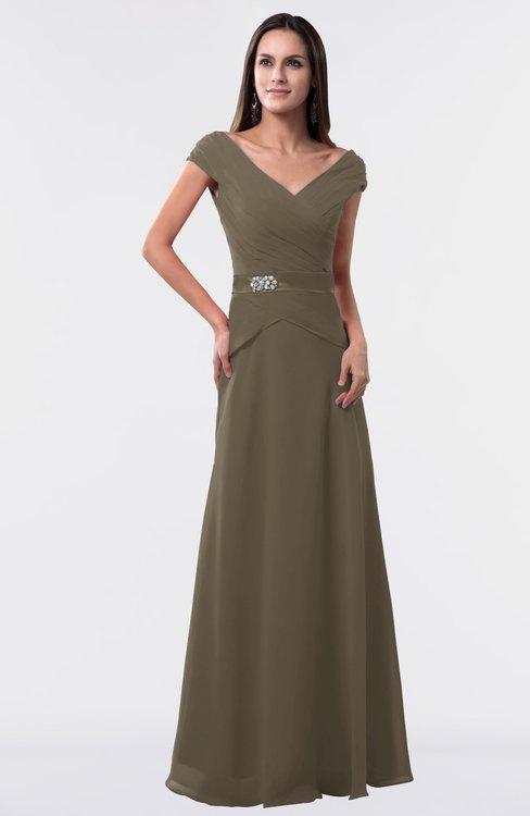 ColsBM Madelyn Carafe Brown Informal A-line Portrait Zipper Floor Length Ruching Plus Size Bridesmaid Dresses