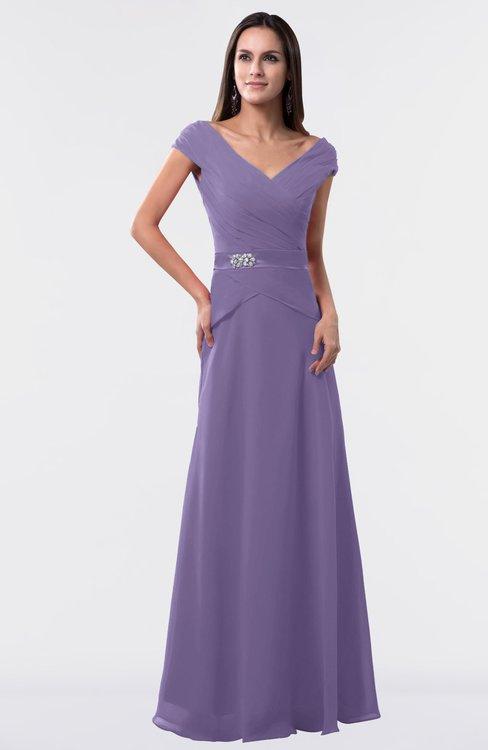 ColsBM Madelyn Chalk Violet Informal A-line Portrait Zipper Floor Length Ruching Plus Size Bridesmaid Dresses