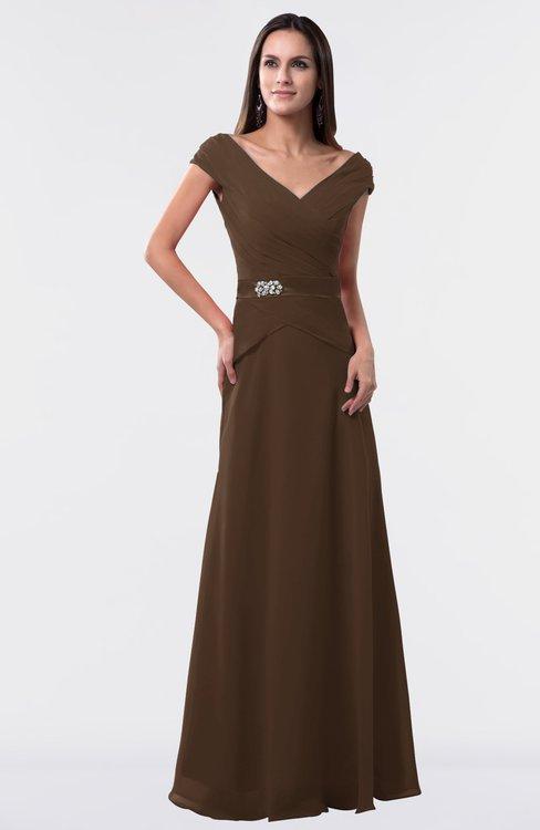 ColsBM Madelyn Chocolate Brown Informal A-line Portrait Zipper Floor Length Ruching Plus Size Bridesmaid Dresses