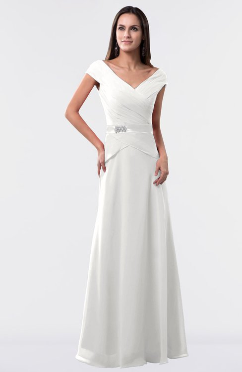 ColsBM Madelyn Cloud White Informal A-line Portrait Zipper Floor Length Ruching Plus Size Bridesmaid Dresses