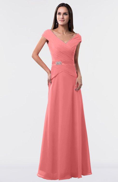 ColsBM Madelyn Coral Informal A-line Portrait Zipper Floor Length Ruching Plus Size Bridesmaid Dresses