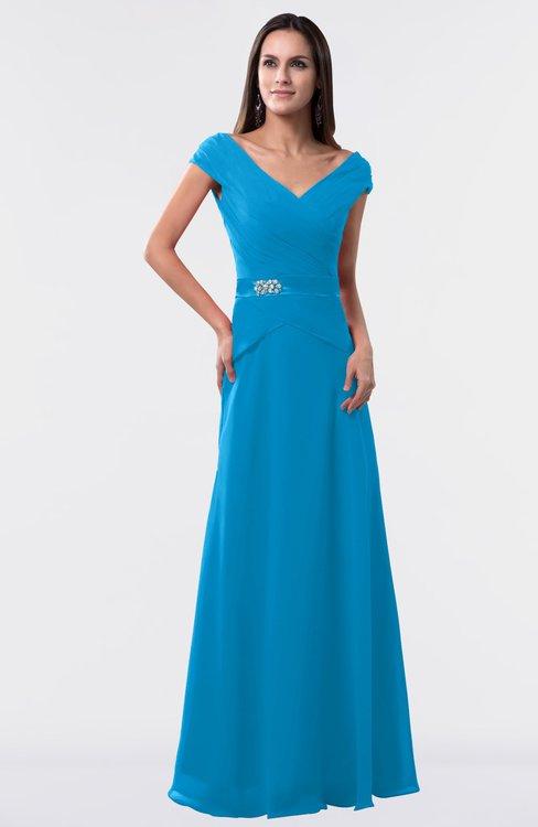 ColsBM Madelyn Cornflower Blue Informal A-line Portrait Zipper Floor Length Ruching Plus Size Bridesmaid Dresses