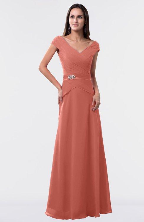 ColsBM Madelyn Crabapple Informal A-line Portrait Zipper Floor Length Ruching Plus Size Bridesmaid Dresses