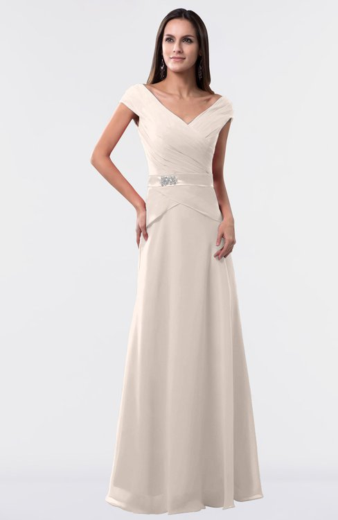 ColsBM Madelyn Cream Pink Informal A-line Portrait Zipper Floor Length Ruching Plus Size Bridesmaid Dresses