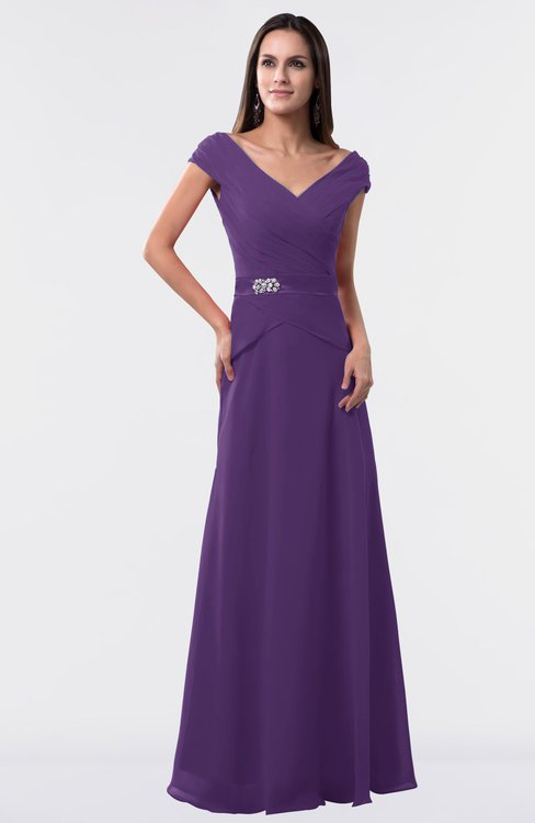 ColsBM Madelyn Dark Purple Informal A-line Portrait Zipper Floor Length Ruching Plus Size Bridesmaid Dresses