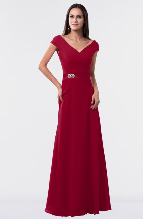 ColsBM Madelyn Dark Red Informal A-line Portrait Zipper Floor Length Ruching Plus Size Bridesmaid Dresses
