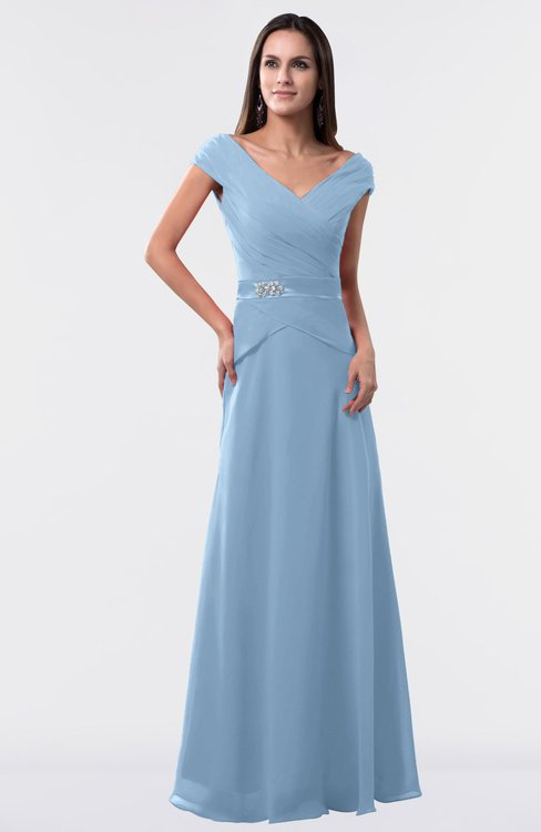 ColsBM Madelyn Dusty Blue Informal A-line Portrait Zipper Floor Length Ruching Plus Size Bridesmaid Dresses