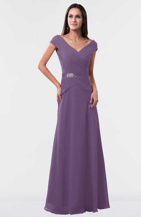 ColsBM Madelyn Eggplant Informal A-line Portrait Zipper Floor Length Ruching Plus Size Bridesmaid Dresses