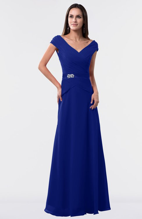 ColsBM Madelyn Electric Blue Informal A-line Portrait Zipper Floor Length Ruching Plus Size Bridesmaid Dresses