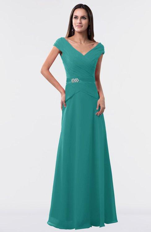 ColsBM Madelyn Emerald Green Informal A-line Portrait Zipper Floor Length Ruching Plus Size Bridesmaid Dresses
