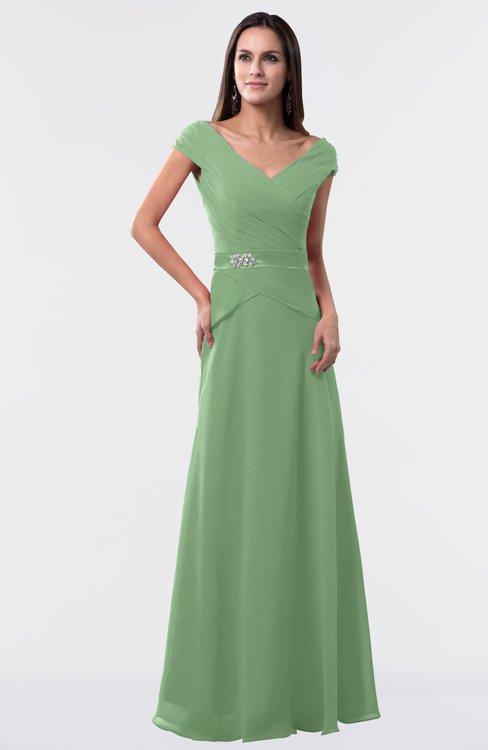 ColsBM Madelyn Fair Green Informal A-line Portrait Zipper Floor Length Ruching Plus Size Bridesmaid Dresses