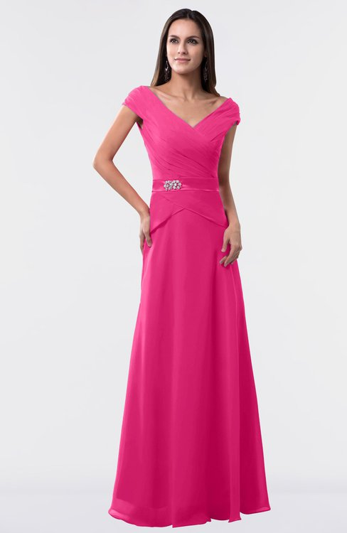 ColsBM Madelyn Fandango Pink Informal A-line Portrait Zipper Floor Length Ruching Plus Size Bridesmaid Dresses