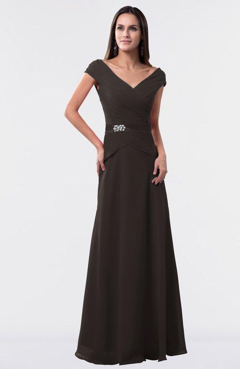ColsBM Madelyn Fudge Brown Informal A-line Portrait Zipper Floor Length Ruching Plus Size Bridesmaid Dresses