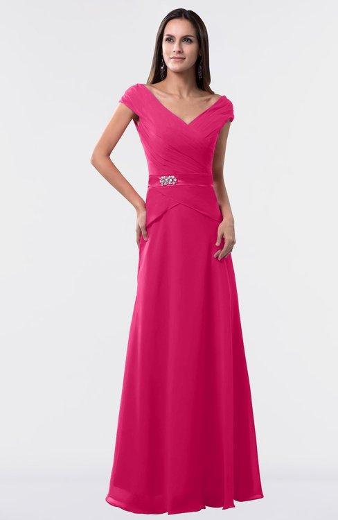 ColsBM Madelyn Fuschia Informal A-line Portrait Zipper Floor Length Ruching Plus Size Bridesmaid Dresses