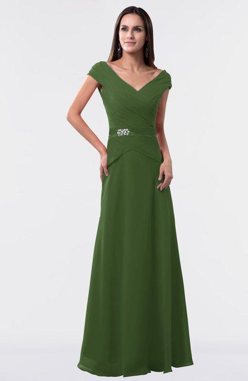 ColsBM Madelyn Garden Green Informal A-line Portrait Zipper Floor Length Ruching Plus Size Bridesmaid Dresses