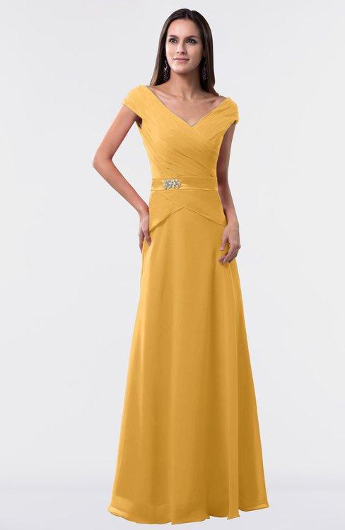 ColsBM Madelyn Golden Cream Informal A-line Portrait Zipper Floor Length Ruching Plus Size Bridesmaid Dresses