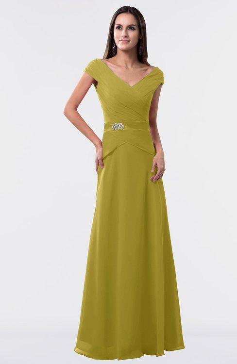 ColsBM Madelyn Golden Olive Informal A-line Portrait Zipper Floor Length Ruching Plus Size Bridesmaid Dresses