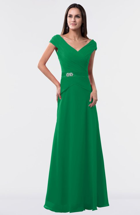 ColsBM Madelyn Green Informal A-line Portrait Zipper Floor Length Ruching Plus Size Bridesmaid Dresses