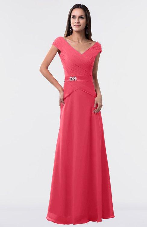 ColsBM Madelyn Guava Informal A-line Portrait Zipper Floor Length Ruching Plus Size Bridesmaid Dresses