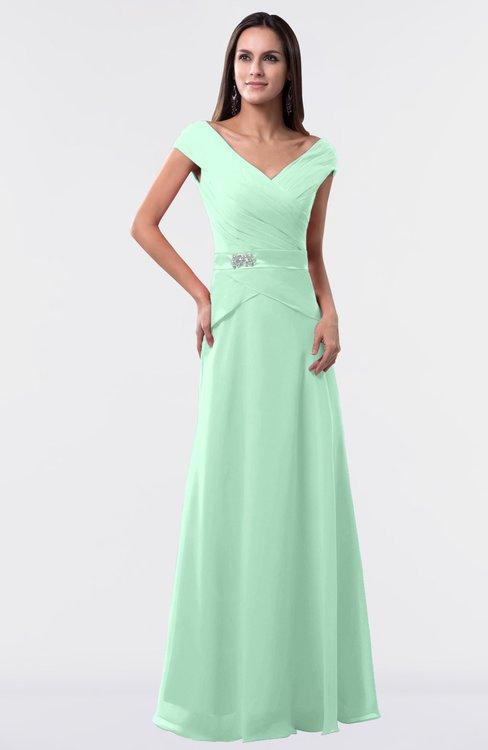 ColsBM Madelyn Honeydew Informal A-line Portrait Zipper Floor Length Ruching Plus Size Bridesmaid Dresses