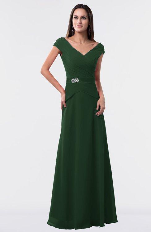 ColsBM Madelyn Hunter Green Informal A-line Portrait Zipper Floor Length Ruching Plus Size Bridesmaid Dresses