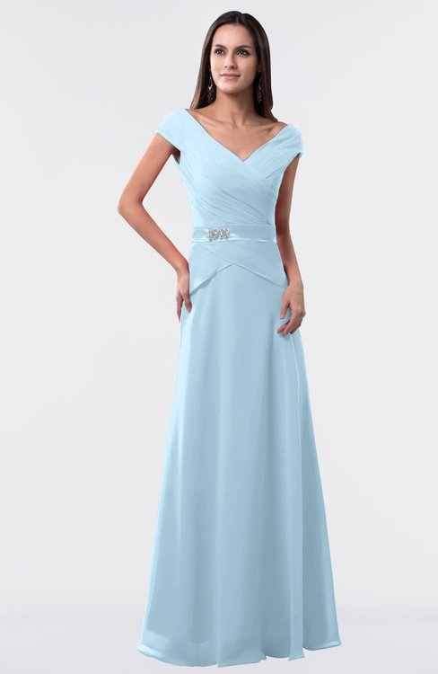 ColsBM Madelyn Ice Blue Informal A-line Portrait Zipper Floor Length Ruching Plus Size Bridesmaid Dresses