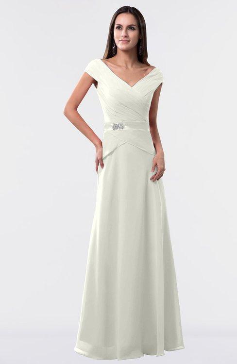 ColsBM Madelyn Ivory Informal A-line Portrait Zipper Floor Length Ruching Plus Size Bridesmaid Dresses