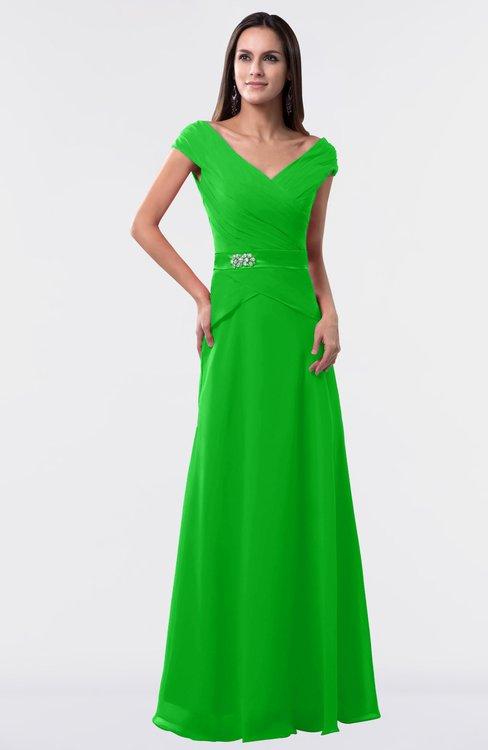 ColsBM Madelyn Jasmine Green Informal A-line Portrait Zipper Floor Length Ruching Plus Size Bridesmaid Dresses