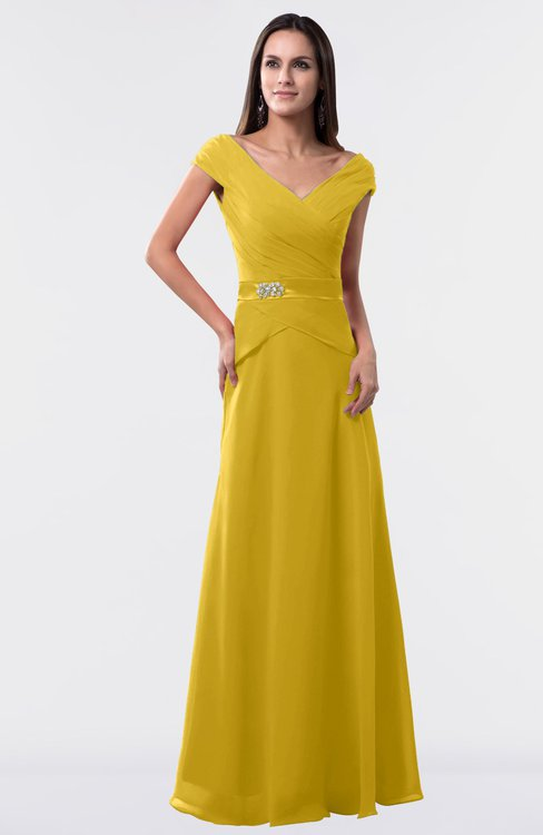 ColsBM Madelyn Lemon Curry Informal A-line Portrait Zipper Floor Length Ruching Plus Size Bridesmaid Dresses