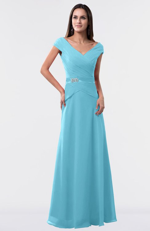 ColsBM Madelyn Light Blue Informal A-line Portrait Zipper Floor Length Ruching Plus Size Bridesmaid Dresses