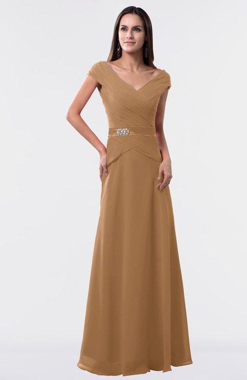ColsBM Madelyn Light Brown Informal A-line Portrait Zipper Floor Length Ruching Plus Size Bridesmaid Dresses