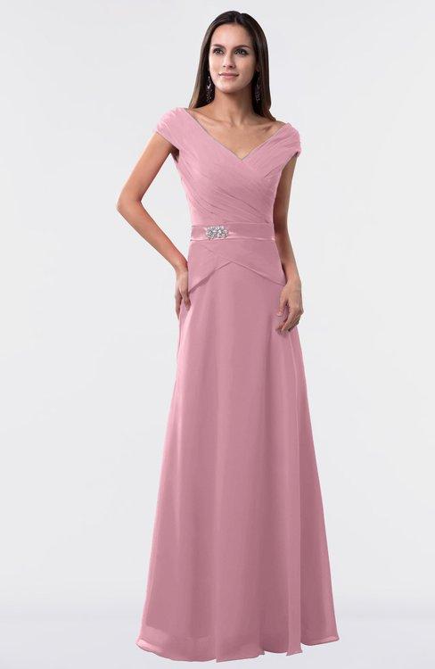 ColsBM Madelyn Light Coral Informal A-line Portrait Zipper Floor Length Ruching Plus Size Bridesmaid Dresses