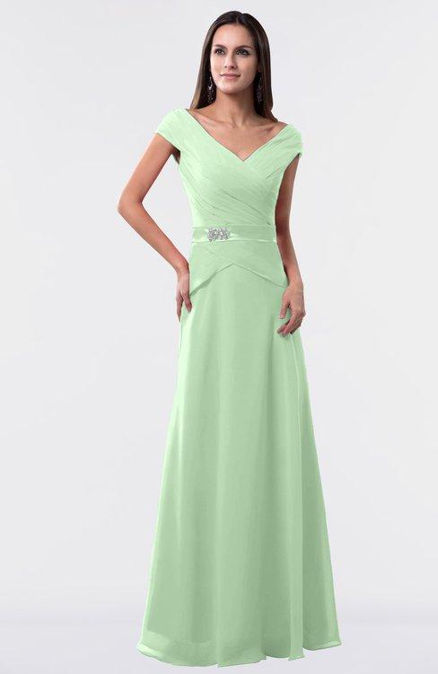ColsBM Madelyn Light Green Informal A-line Portrait Zipper Floor Length Ruching Plus Size Bridesmaid Dresses