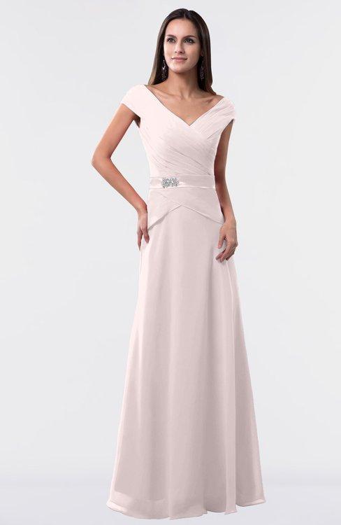 ColsBM Madelyn Light Pink Informal A-line Portrait Zipper Floor Length Ruching Plus Size Bridesmaid Dresses