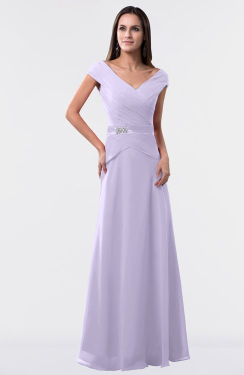 ColsBM Madelyn Light Purple Informal A-line Portrait Zipper Floor Length Ruching Plus Size Bridesmaid Dresses