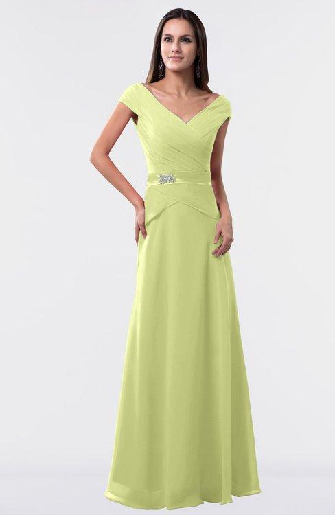 ColsBM Madelyn Lime Sherbet Informal A-line Portrait Zipper Floor Length Ruching Plus Size Bridesmaid Dresses