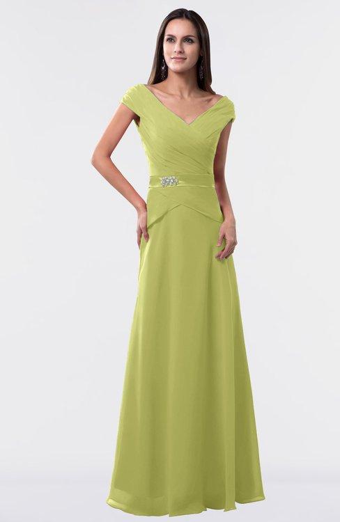 ColsBM Madelyn Linden Green Informal A-line Portrait Zipper Floor Length Ruching Plus Size Bridesmaid Dresses