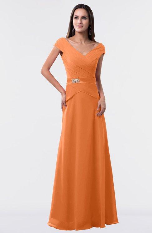ColsBM Madelyn Mango Informal A-line Portrait Zipper Floor Length Ruching Plus Size Bridesmaid Dresses