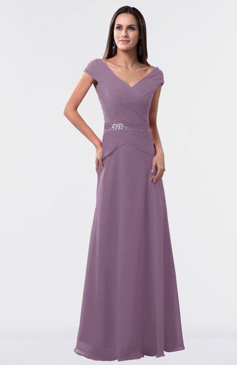 ColsBM Madelyn Mauve Informal A-line Portrait Zipper Floor Length Ruching Plus Size Bridesmaid Dresses