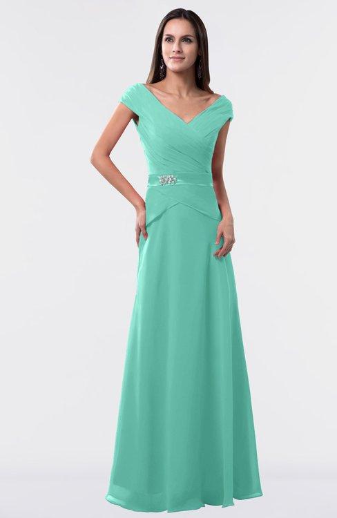 ColsBM Madelyn Mint Green Informal A-line Portrait Zipper Floor Length Ruching Plus Size Bridesmaid Dresses