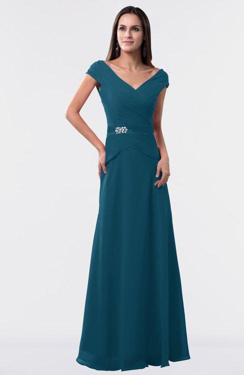 ColsBM Madelyn Moroccan Blue Informal A-line Portrait Zipper Floor Length Ruching Plus Size Bridesmaid Dresses