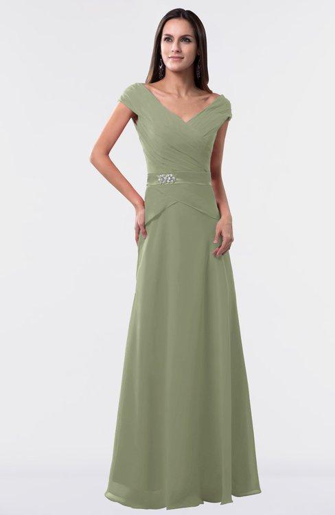 ColsBM Madelyn Moss Green Informal A-line Portrait Zipper Floor Length Ruching Plus Size Bridesmaid Dresses