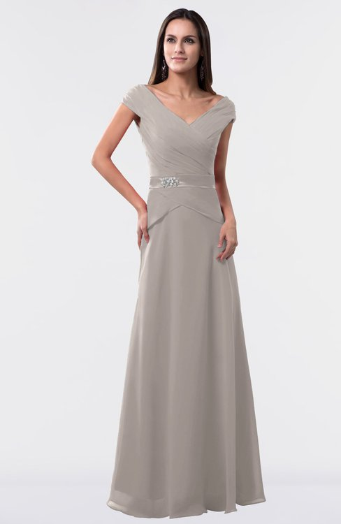 ColsBM Madelyn Mushroom Informal A-line Portrait Zipper Floor Length Ruching Plus Size Bridesmaid Dresses